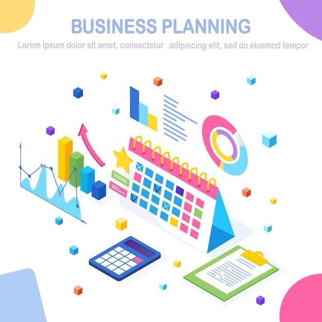 Conceito de planejamento de negócios. isométrico Vetor Premium