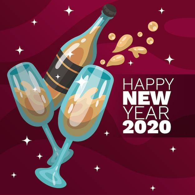Conceito de plano de fundo do ano novo de design plano 2020 Vetor grátis