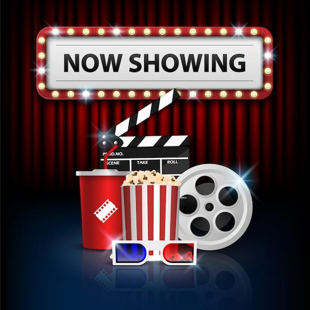 Conceito de plano de fundo do cinema, objeto de cinema na cortina vermelha Vetor Premium