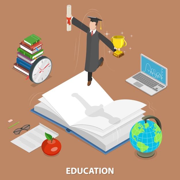 Conceito de plano isométrico de educação Vetor Premium