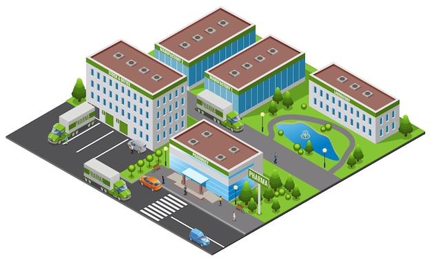 Conceito de planta farmacêutica isométrica com escritório fábrica laboratório farmácia edifícios caminhões pessoas árvores lagoa de água isolada Vetor Premium
