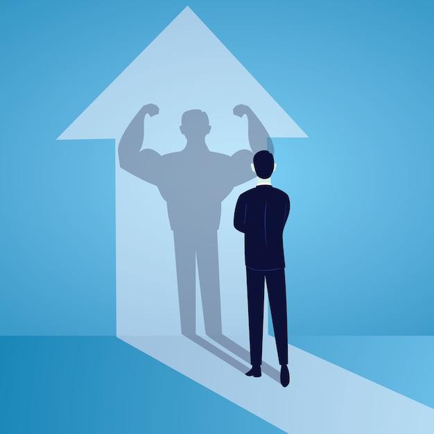 Conceito de poder de negócios. empresário forte. força interior Vetor Premium