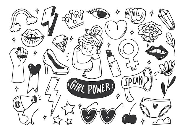 Conceito de poder feminino em vetor de estilo doodle Vetor Premium