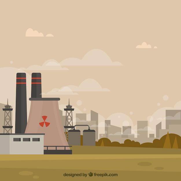 Conceito de poluição com usina nuclear Vetor grátis
