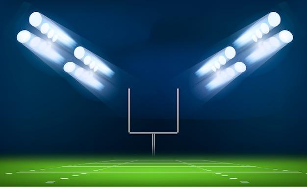 Conceito de portão de futebol americano, estilo realista Vetor Premium
