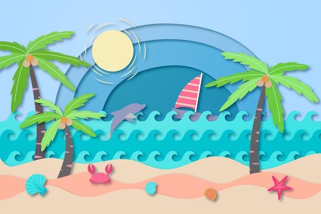 Conceito de praia em estilo de jornal Vetor grátis