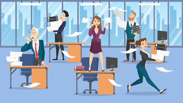 Conceito de prazo. idéia de muitos trabalhos e pouco tempo. empregado com pressa. pânico e estresse no escritório. problemas de negócios. ilustração Vetor Premium