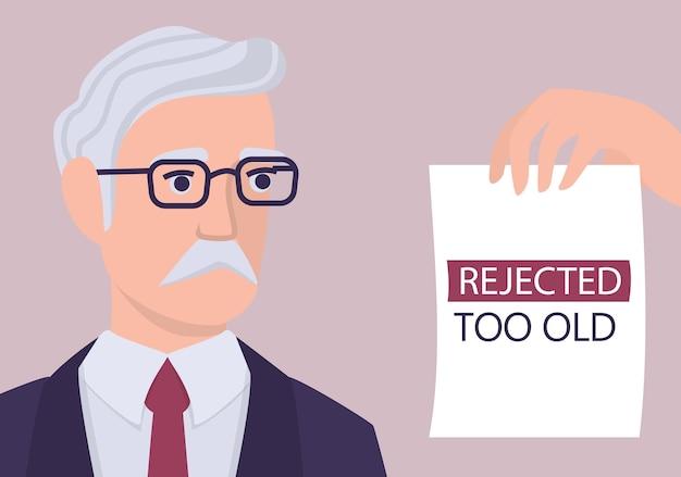 Conceito de preconceito de recrutamento. especialista em rh rejeita um velho cv. injustiça e problema de emprego de idosos. o departamento de recursos humanos não contrata pessoas com 50 anos. ilustração Vetor Premium