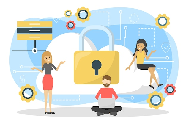 Conceito de privacidade de dados. ideia de segurança e proteção ao usar Vetor Premium