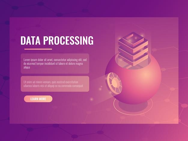 Conceito de processamento de dados grande, armazenamento de nuvem futurista abstrata, sala do servidor, banco de dados Vetor grátis