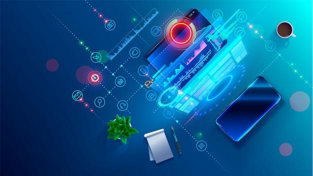Conceito de processo de codificação de desenvolvimento de software. programação, teste de código entre plataformas, aplicativo Vetor Premium