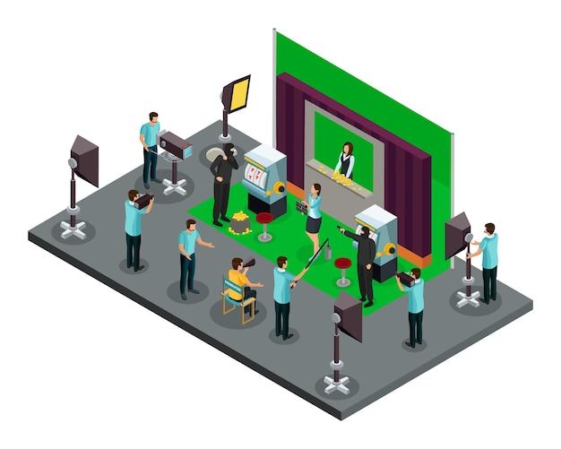 Conceito de processo de filmagem isométrica com iluminadores de operadores de diretor e atores fazendo cena de roubo de filme Vetor grátis