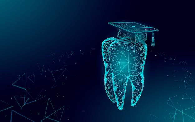 Conceito de programa de certificado de graduação dental de medicina a distância de e-learning. baixa poli 3d render chapéu de formatura no modelo de banner de dente. ilustração de grau de educação na internet Vetor Premium