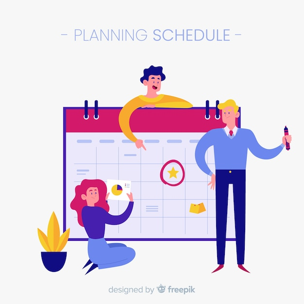 Conceito de programação de planejamento colorido com design plano Vetor grátis