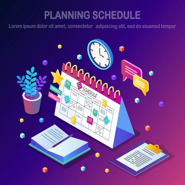 Conceito de programação de planejamento. Vetor Premium