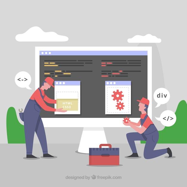 Conceito de programadores com design plano Vetor grátis