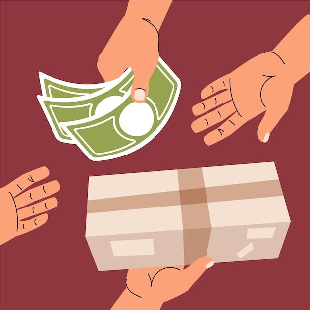 Conceito de projeto plano, dinheiro na entrega Vetor grátis