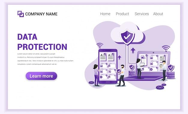 Conceito de proteção de dados com caracteres Vetor Premium