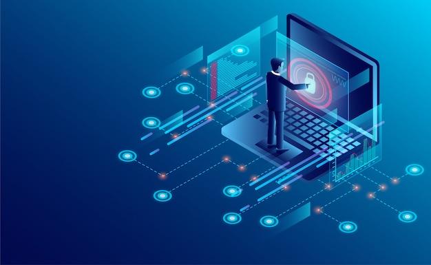 Conceito de proteção de privacidade. empresário proteger dados e segurança de confidencialidade Vetor Premium