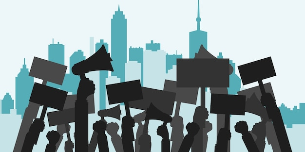 Conceito de protesto, revolução, conflito Vetor grátis
