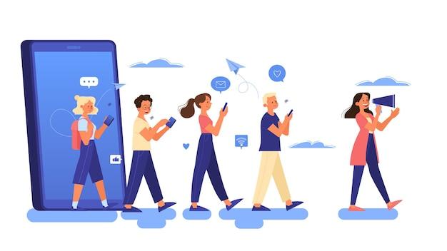 Conceito de publicidade móvel. estratégia de marketing e promoção de negócios na internet e mídias sociais. conteúdo online. ilustração Vetor Premium