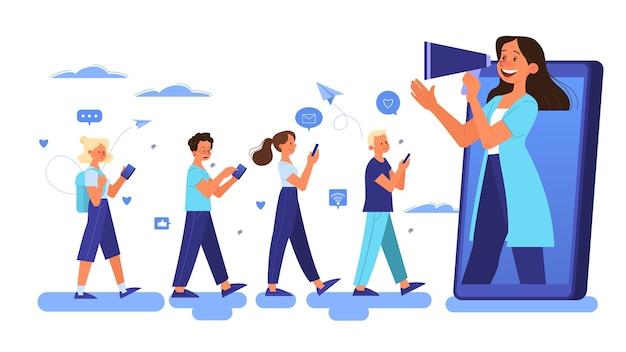 Conceito de publicidade móvel. redes sociais de promoção de estratégia de marketing Vetor Premium
