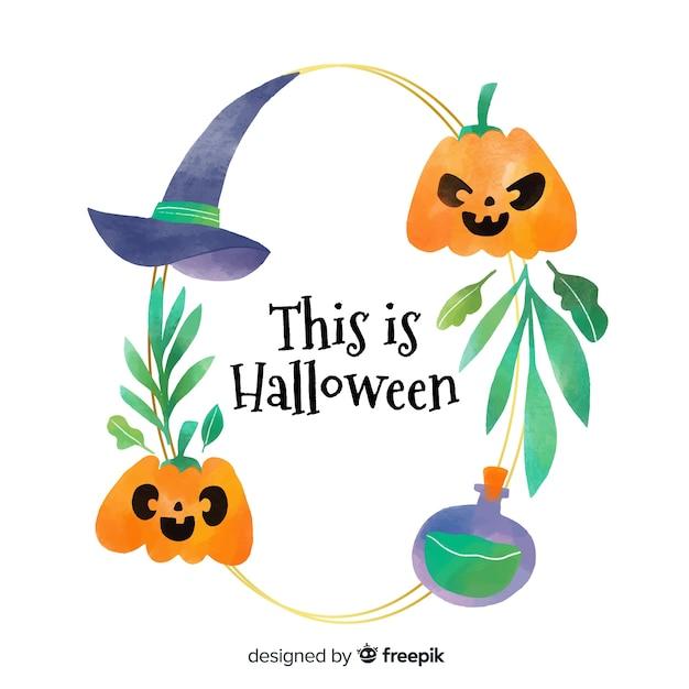 Conceito de quadro em aquarela com tema de halloween Vetor grátis