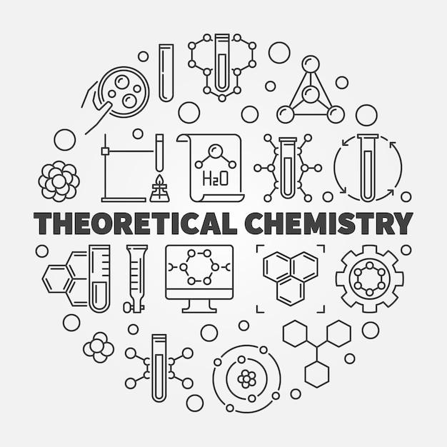 Conceito de química teórica rodada icon ilustração de linha Vetor Premium