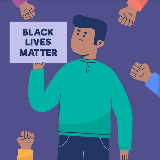 Conceito de racismo com letreiro e mensagem Vetor grátis