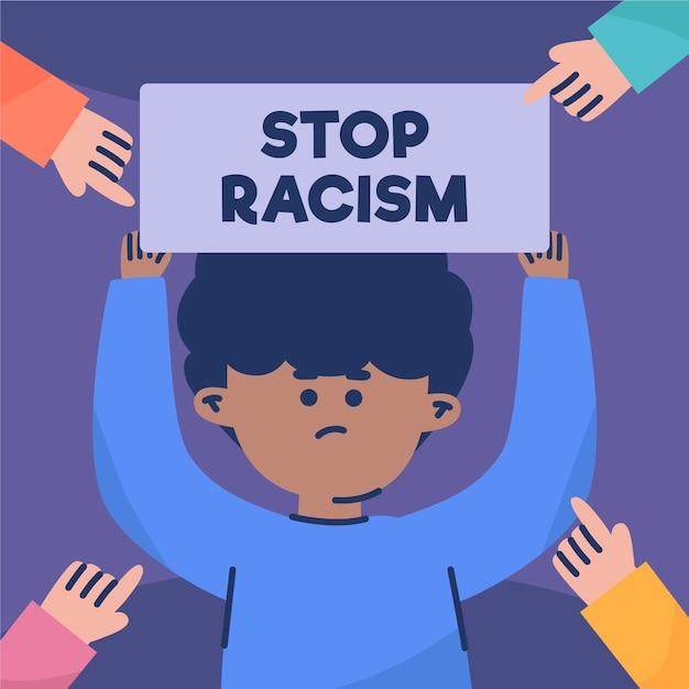 Conceito de racismo com letreiro Vetor grátis