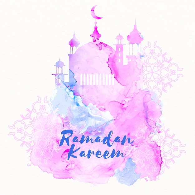 Conceito de ramadan em aquarela Vetor Premium