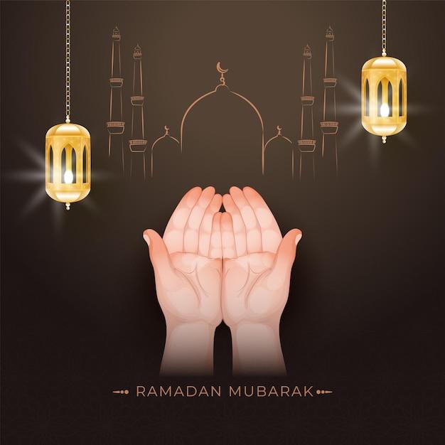 Conceito de ramadan mubarak com mãos muçulmanas orando Vetor Premium