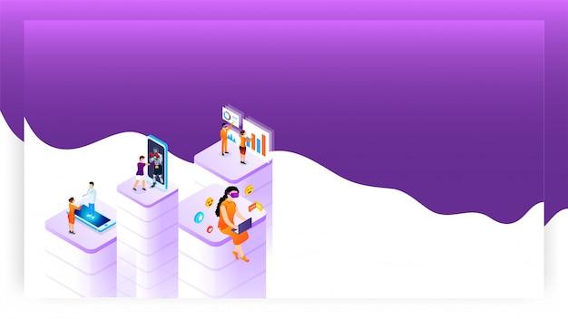 Conceito de realidade virtual baseado em design com pessoas que usam diferentes aplicativos de serviço social. Vetor Premium
