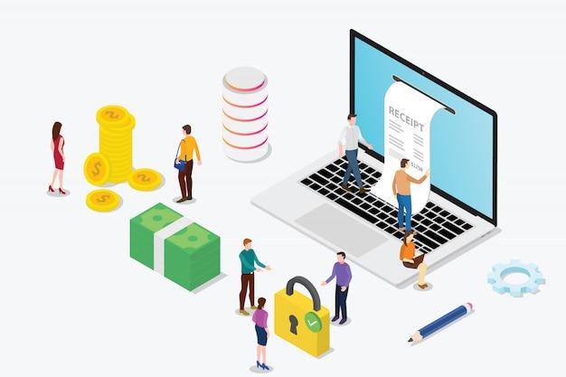 Conceito de recebimento eletrônico isométrica com laptop e equipe de pessoas Vetor Premium