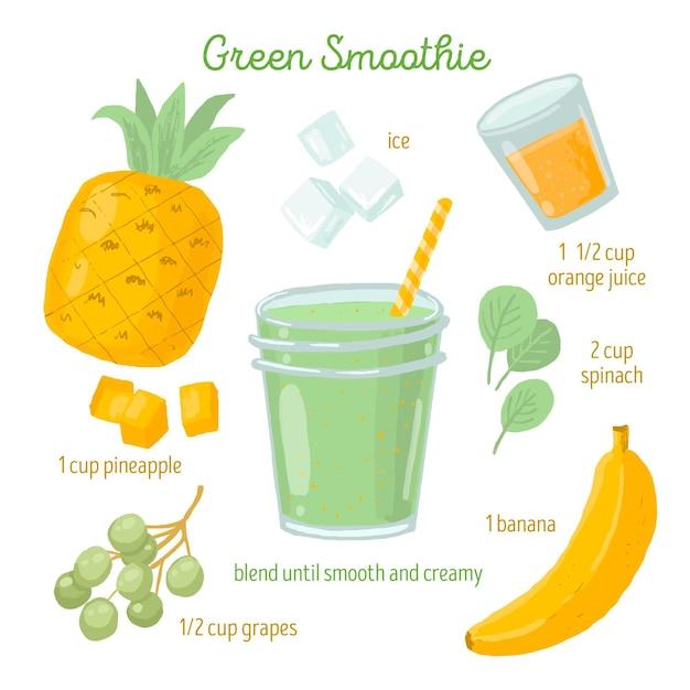 Conceito de receita saudável smoothie Vetor grátis