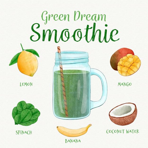 Conceito de receita saudável smoothie Vetor Premium