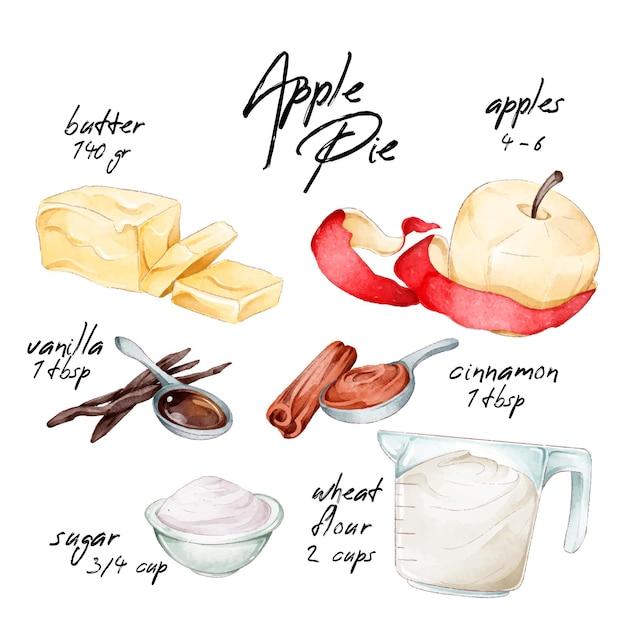 Conceito de receitas em aquarela Vetor grátis