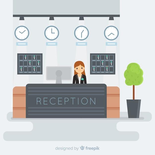 Conceito de recepção em design plano Vetor grátis