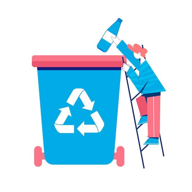 Conceito de reciclagem. homem colocando a garrafa de plástico para uma lata de lixo. ilustração. Vetor Premium