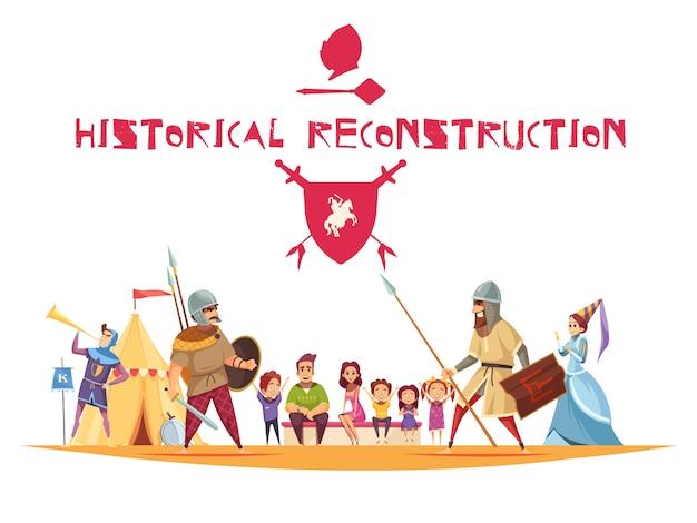 Conceito de reconstrução histórica com antigos guerreiros e armas planas Vetor grátis