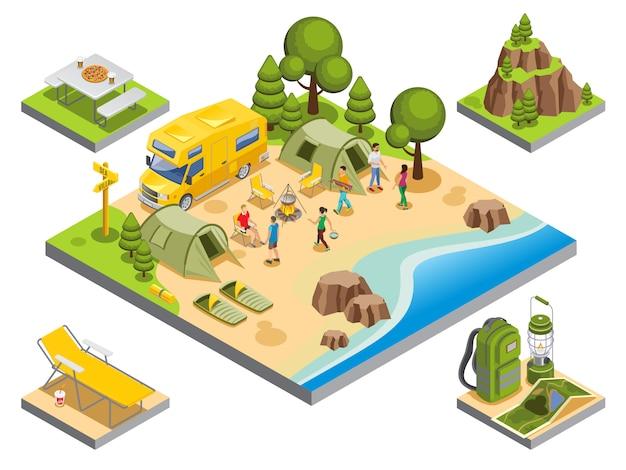 Conceito de recreação ao ar livre isométrica com turistas viajar acessórios de itens de camping de ônibus Vetor grátis