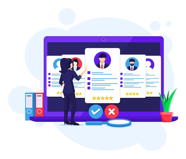 Conceito de recrutamento online, busca de empresárias e escolha de um candidato para o novo funcionário, ilustração de contratação Vetor Premium