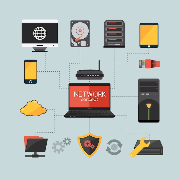 Conceito de rede de computadores Vetor grátis