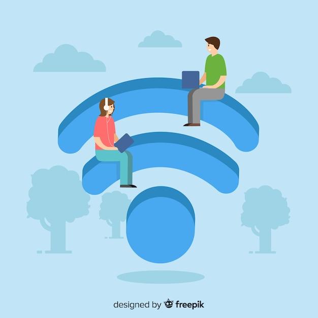 Conceito de rede de design plano wifi Vetor grátis