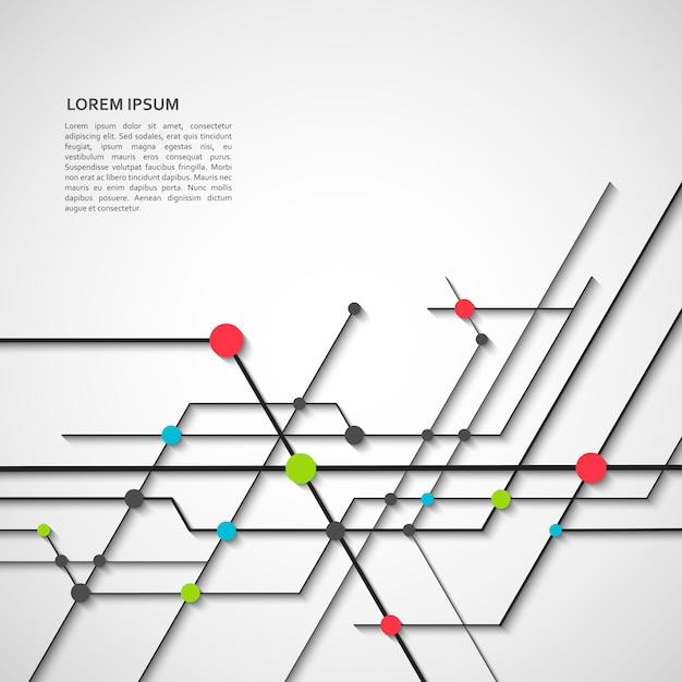 Conceito de rede digital e abstrato com linhas e pontos técnicos conectados Vetor Premium