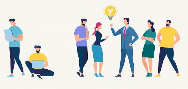 Conceito de rede social. trabalho em equipe. personagem de pessoas Vetor Premium
