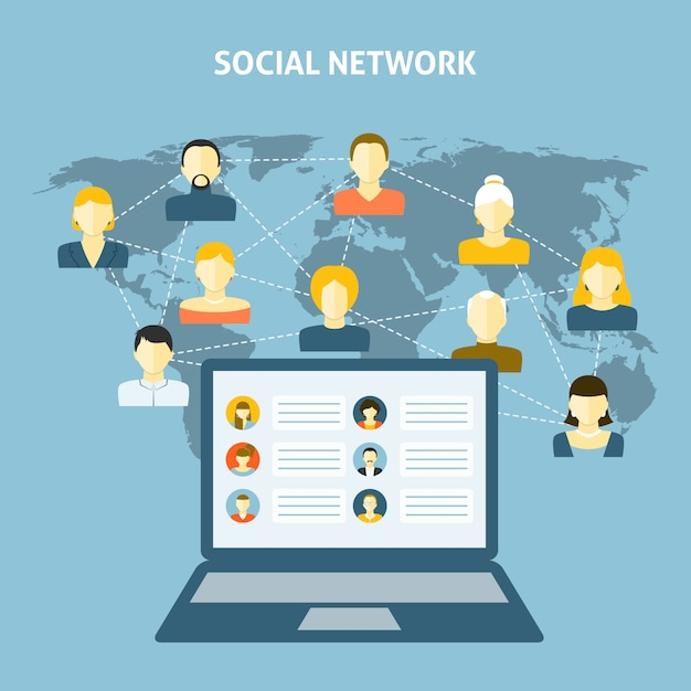 Conceito de rede social Vetor grátis