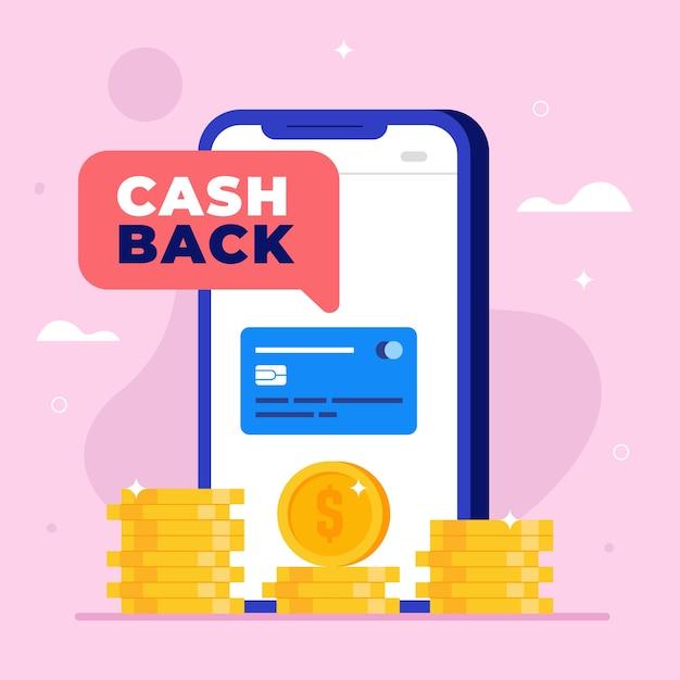 Conceito de reembolso com moedas e smartphone Vetor Premium