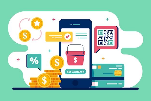 Conceito de reembolso com smartphone e moedas Vetor grátis