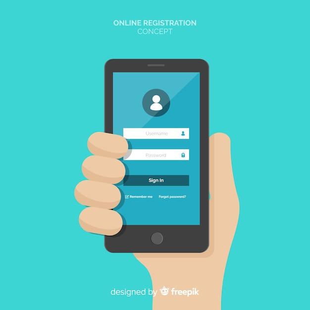 Conceito de registro on-line com design plano Vetor grátis